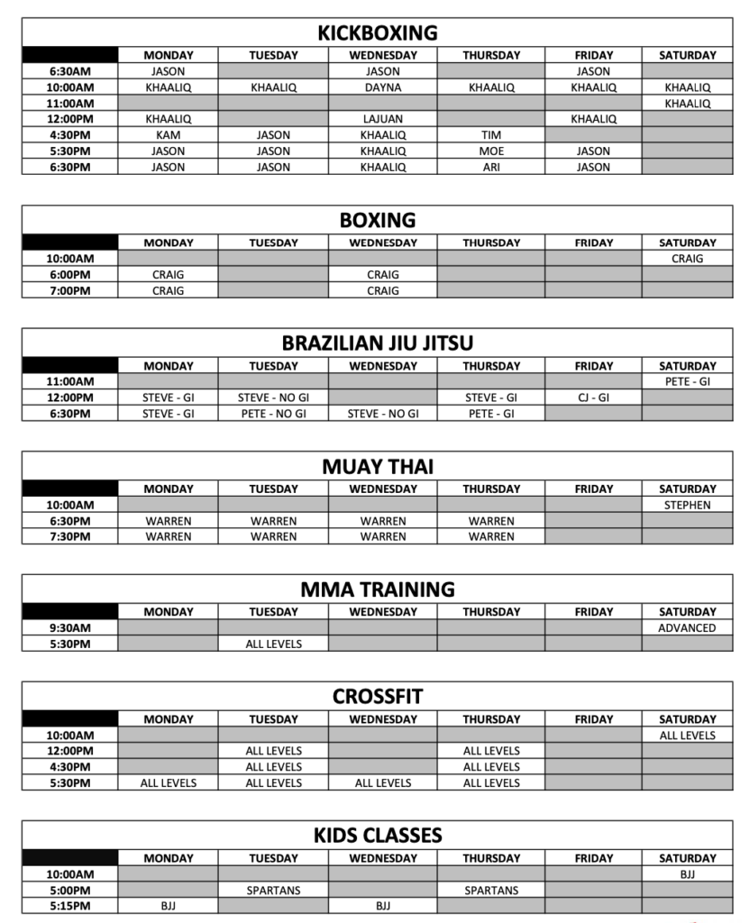 Schedule listing the different times and types of classes at KnuckleUp Buckhead/Sandy Springs